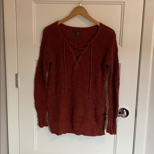 American eagle lace up front sweater
